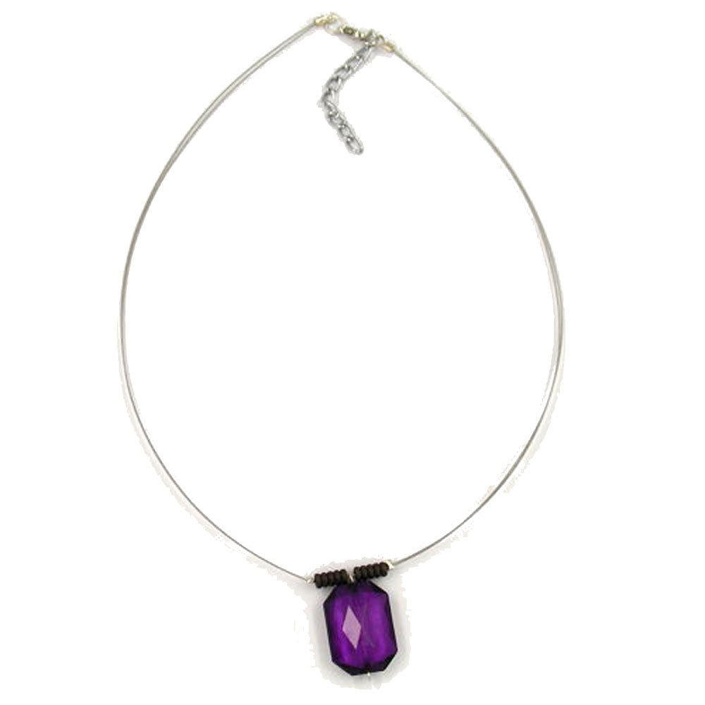 NECKLACE SQUARE PURPLE FACETED PENDANT