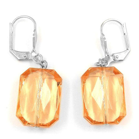 LEVERBACK EARRINGS GRINDED RECTANGLE SALMON ORANGE