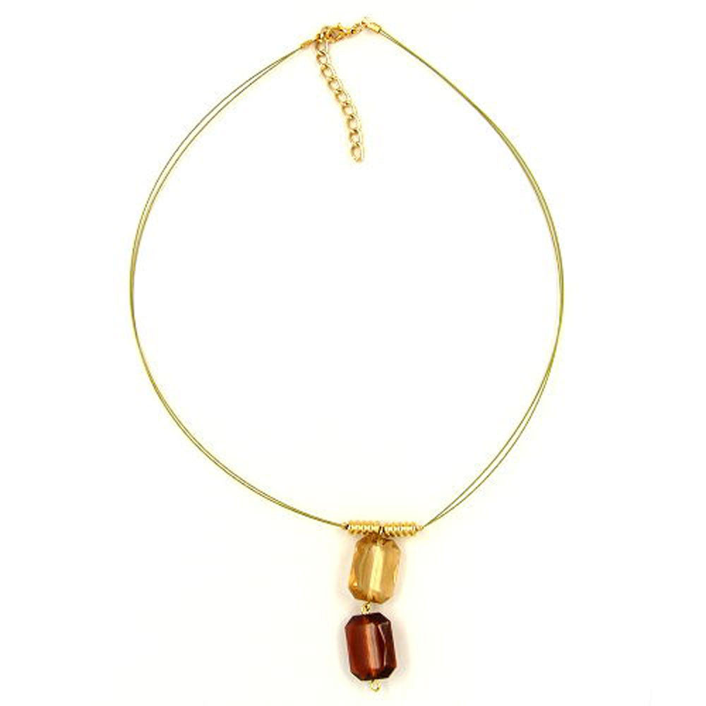NECKLACE SQUARE PENDANTS BROWN GOLD COLOURED