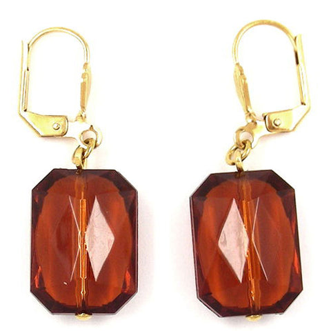 LEVERBACK EARRINGS GRINDED RECTANGLE TOPAS