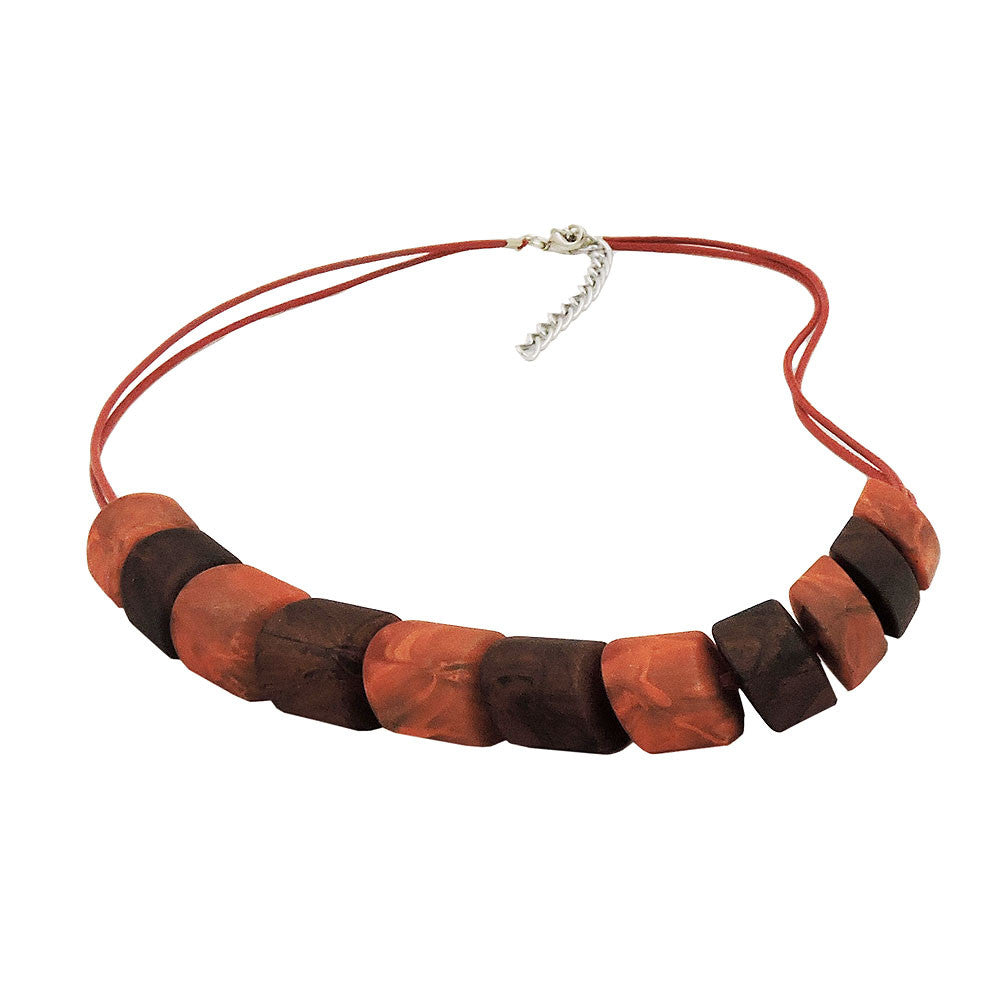 NECKLACE SLANTED BEADS MIXED BROWN