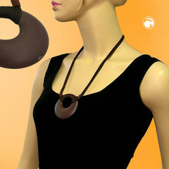 NECKLACE AMULET DARK BROWN 63CM