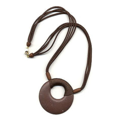 NECKLACE AMULET DARK BROWN