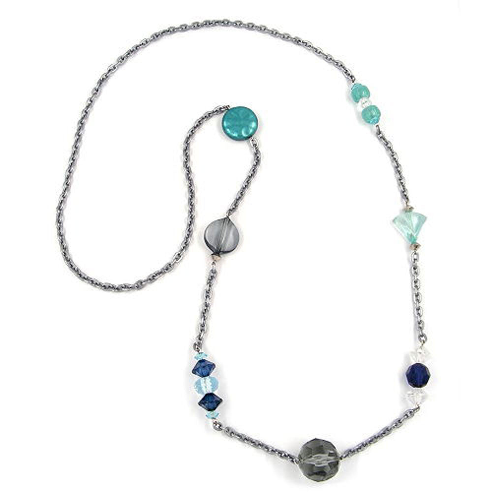 NECKLACE FACETED BEADS GREY-GREEN 90CM