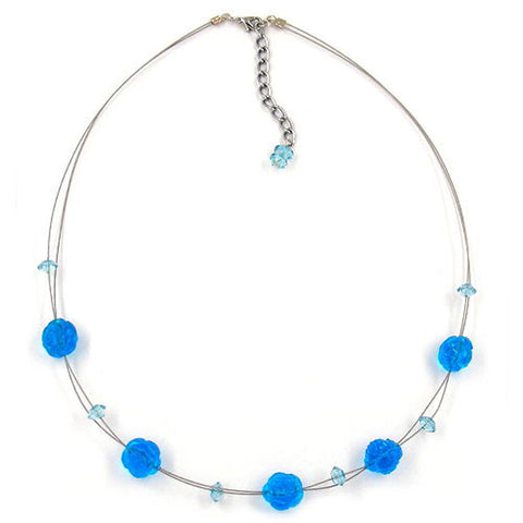 NECKLACE BEADS AQUA-BLUE TRANSPARENT