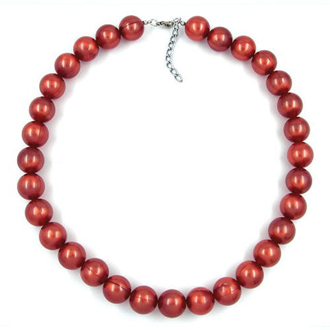 NECKLACE BEADS 16MM RED-BROWN 50CM