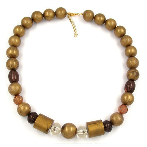 NECKLACE BEADS GOLD-BROWN 55CM