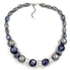 NECKLACE CRASH-BEADS GREY 55CM