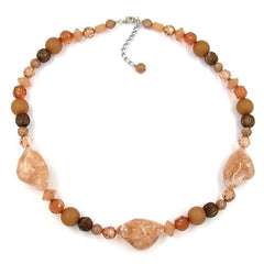 NECKLACE CRASH-NUGGET-BEADS BROWN 55CM