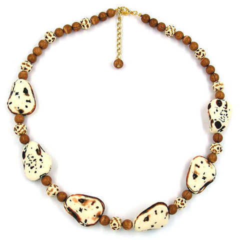 NECKLACE FANTASY BEADS IVORY-BROWN 53CM