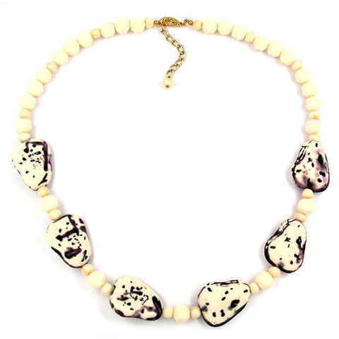 NECKLACE FANTASY BEADS IVORY-PURPLE 53CM