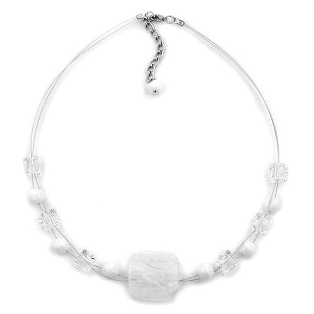 NECKLACE WHITE-TRANSPARENT 42CM