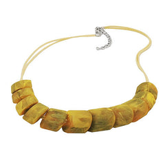 NECKLACE SLANTED BEADS YELLOW OLIVE 45CM