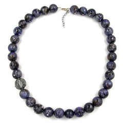NECKLACE BEADS 18MM PURPLE-GREY 60CM