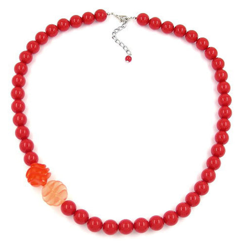 NECKLACE BEADS 12MM RED 60CM