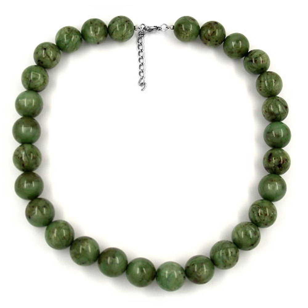 NECKLACE BEADS 18MM GREEN/ BROWN MARBLED