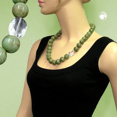NECKLACE BEADS 22MM GREEN-BROWN 60CM