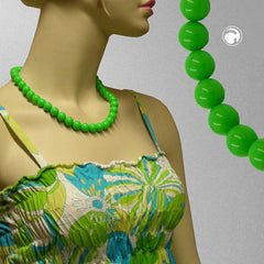 NECKLACE BEADS 12MM GREEN 50CM