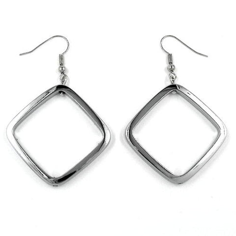 HOOK EARRINGS SQUARE SILVER COLOURED SHINY
