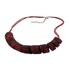 NECKLACE SLANTED BEADS RED MARBLED 45CM