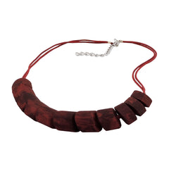 NECKLACE SLANTED BEADS RED MARBLED