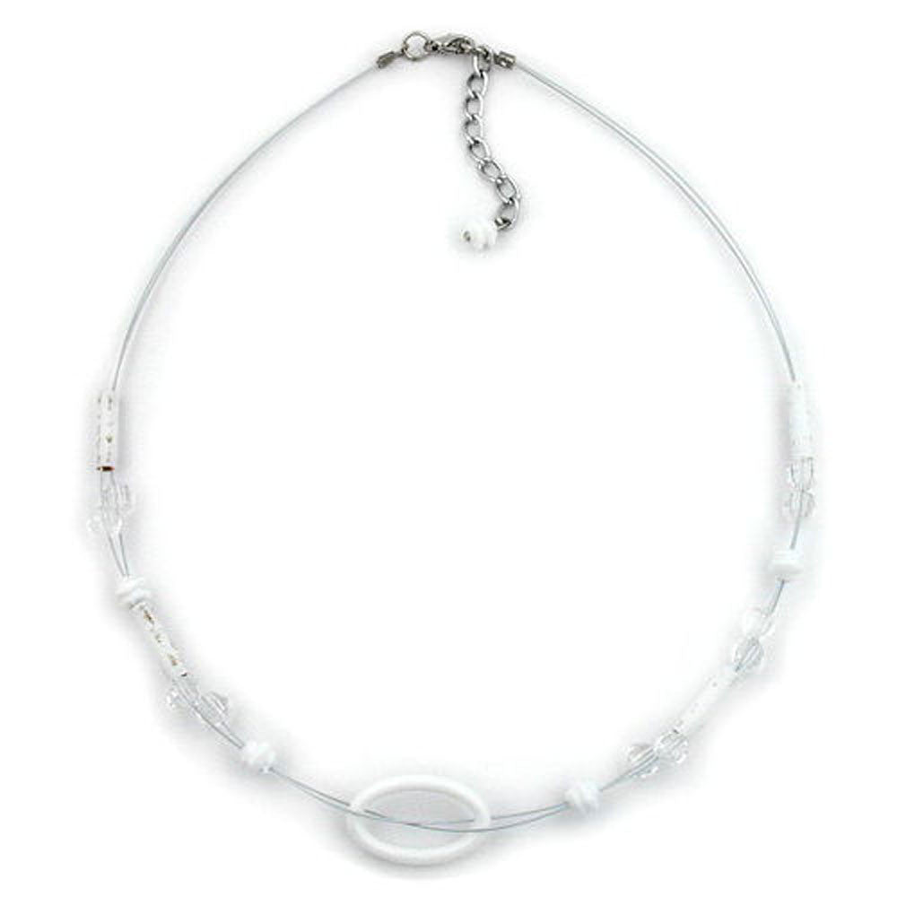 NECKLACE WHITE OVAL RING TRANSPARENT