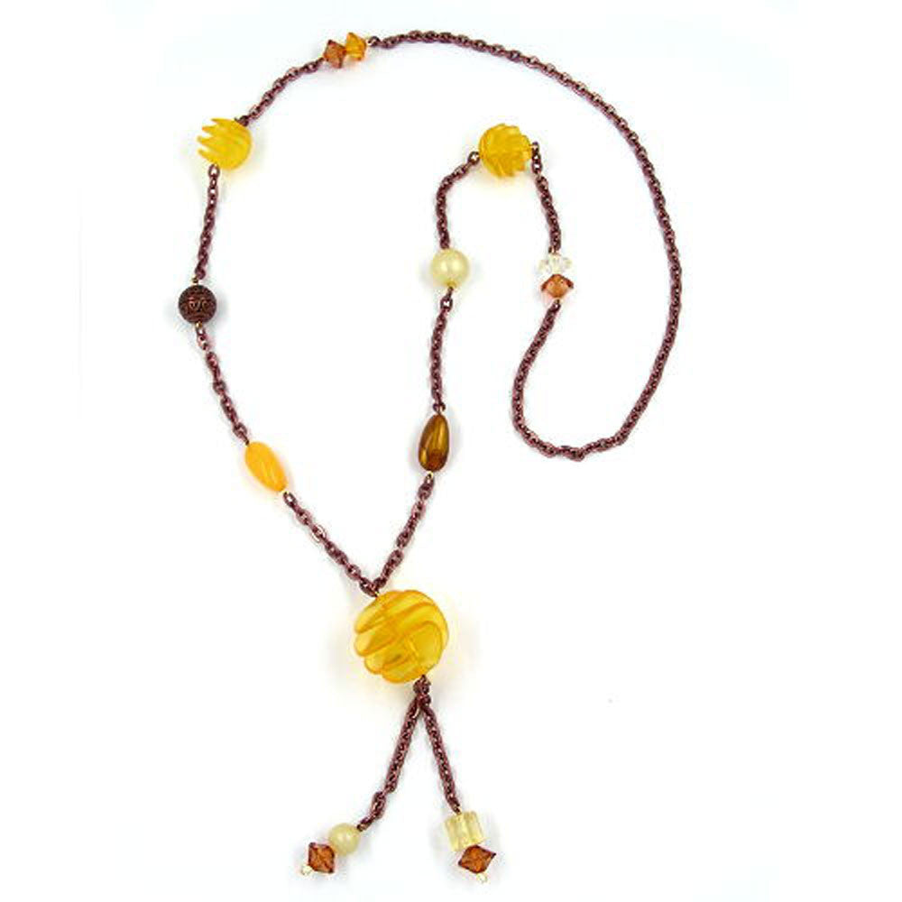 NECKLACE YELLOW SPIRAL PEARL 90CM