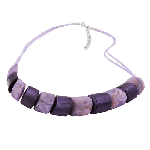 NECKLACE SLANTED BEADS LILAC-MIXED CORD LIGHT LILAC