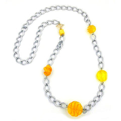 NECKLACE CURB CHAIN BEADS 95CM