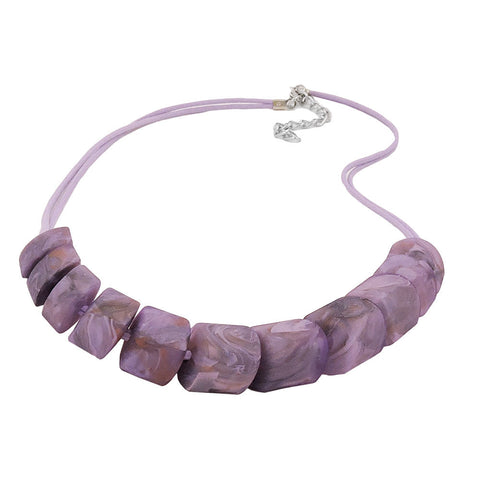 NECKLACE SLANTED BEADS LILAC-MARBELED CORD LIGHT LILAC