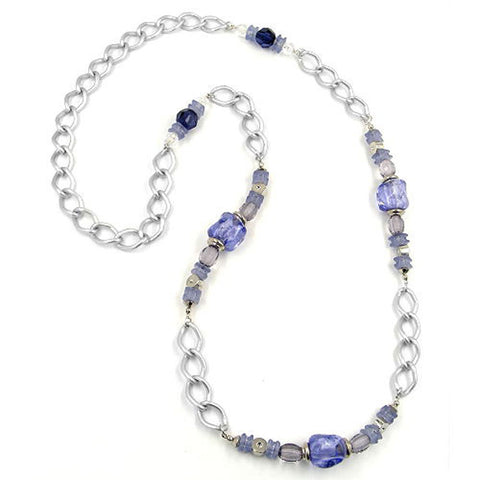 NECKLACE STONE-PEARL BLUE CURB CHAIN 90CM