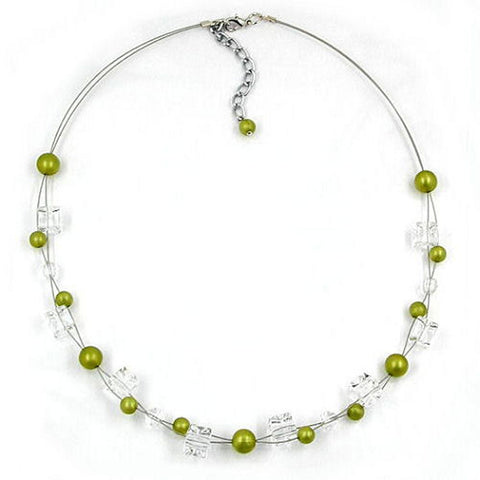 NECKLACE GREEN-OLIVE-SILKY BEADS