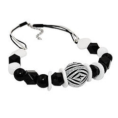 NECKLACE VARIOS BEADS BLACK AND WHITE BLACK AND WHITE CORD 44CM
