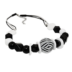 NECKLACE VARIOS BEADS BLACK AND WHITE BLACK AND WHITE CORD