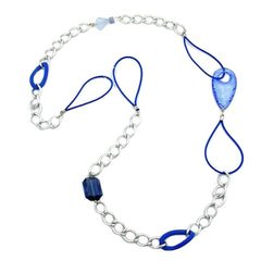 NECKLACE BLUE SILVER BEADS 100CM