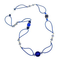 NECKLACE BLUE BEADS BLUE CHAIN 95CM