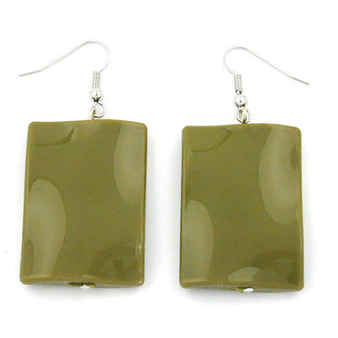 HOOK EARRINGS PILLOW BEAD SHAPED GREEN OLIVE