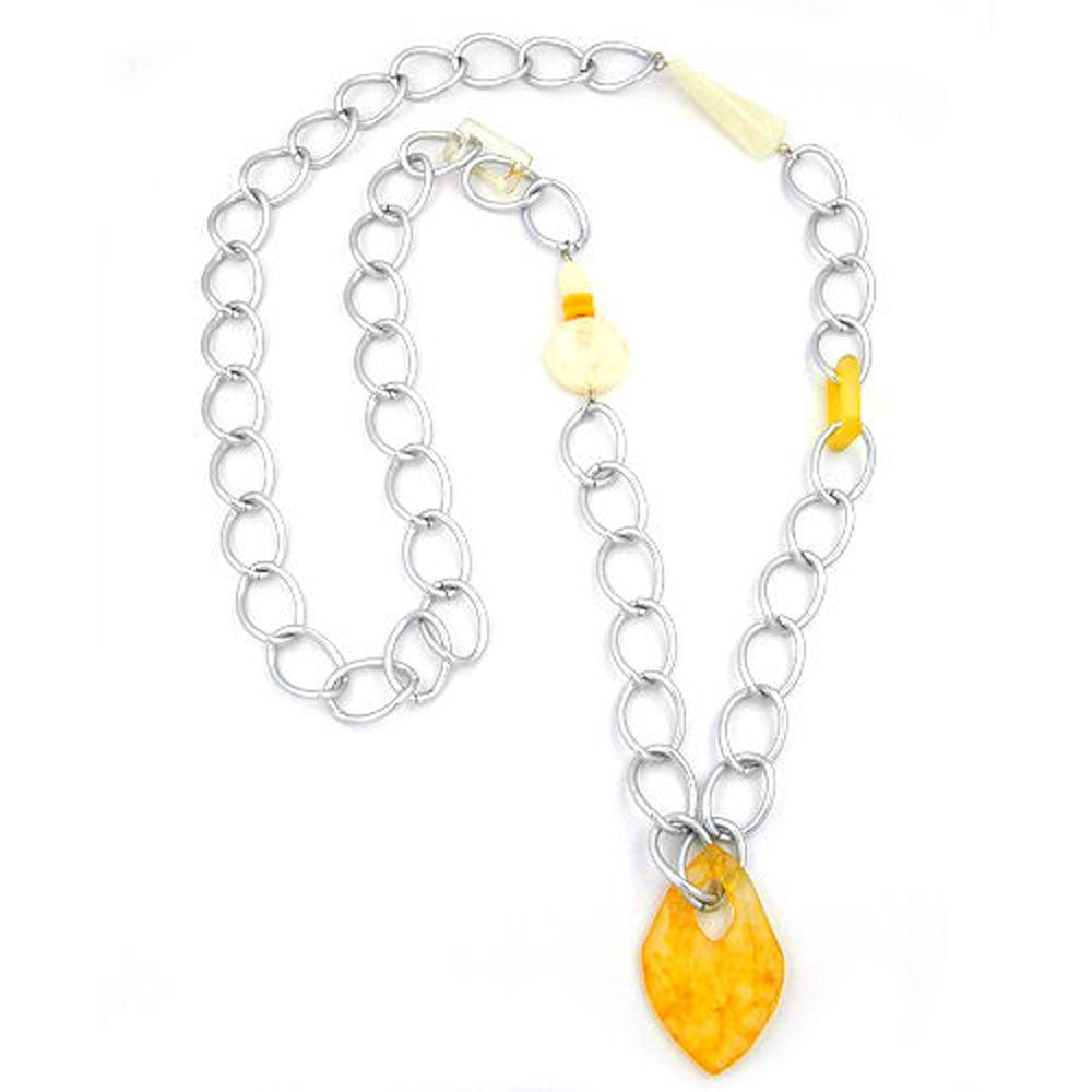NECKLACE CURB CHAIN BEADS 100CM