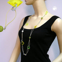 NECKLACE YELLOW GREEN 100CM