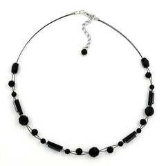 NECKLACE BEADS BLACK 43CM