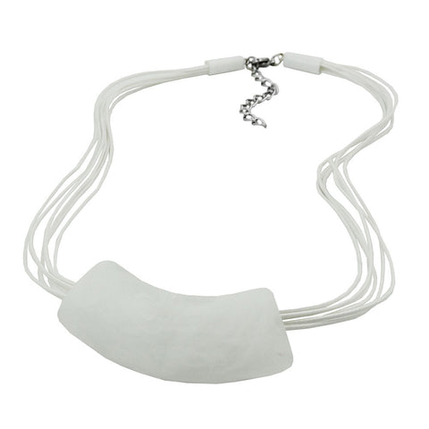 NECKLACE TUBE FLAT CURVED WHITE 45CM