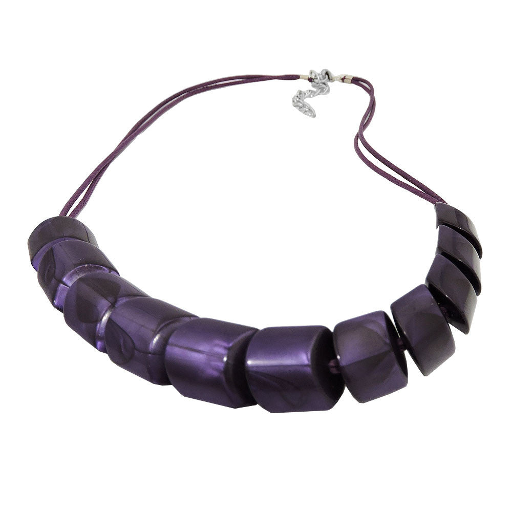 NECKLACE SLANTED BEADS LILAC-SHINING CORD LILAC