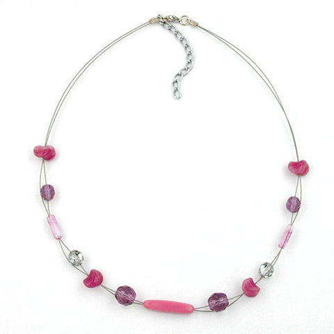 NECKLACE GLASS BEADS PURPLE 45CM