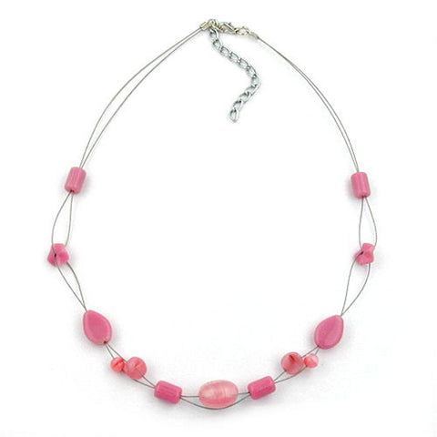 NECKLACE GLASS BEADS PINK