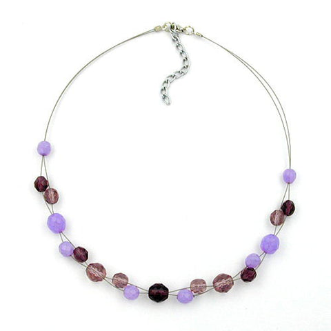 NECKLACE GLASS BEADS PURPLE 43CM