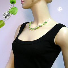 NECKLACE GLASS BEADS GREEN 45CM