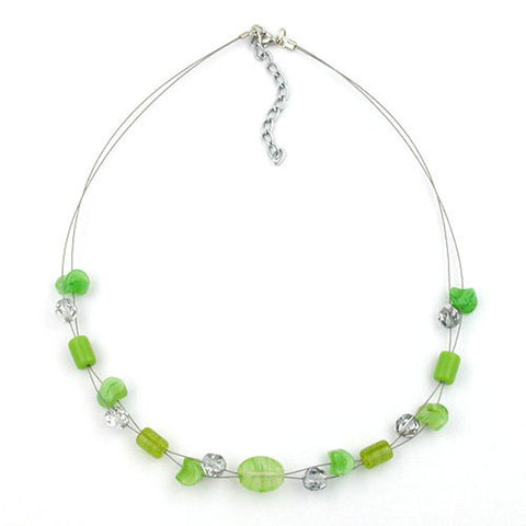 NECKLACE GLASS BEADS GREEN