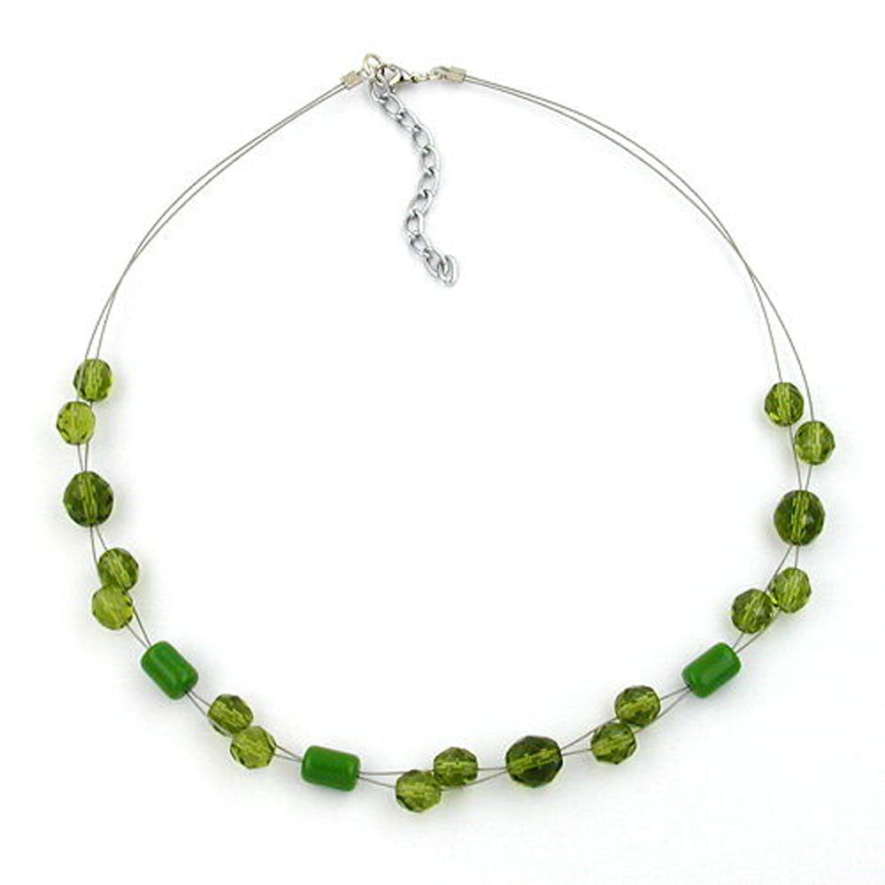 NECKLACE GLASS BEADS GREEN 43CM