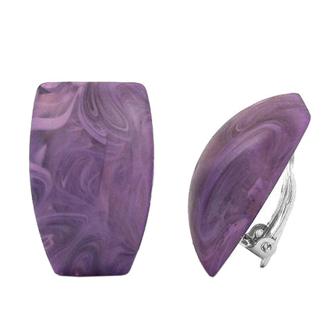 CLIP-ON EARRING TRAPEZIUM PURPLE