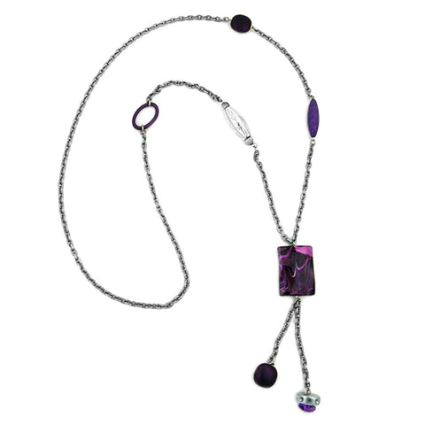 NECKLACE RECTANGLE LILAC-WHITE MARBLED 90CM